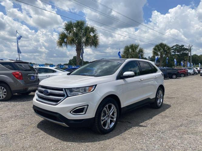 2016 White /Tan Ford Edge Titanium (2FMPK3K97GB) with an 2.0l I-4 DI Ecoboost 2.0l engine, Automatic transmission, located at 745 East Steele Rd., West Columbia, SC, 29170, (803) 755-9148, 33.927212, -81.148483 - Photo #0